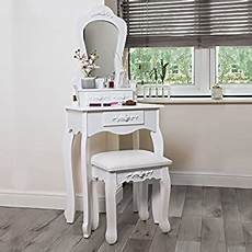songmics compact dressing table set with stool and mirror