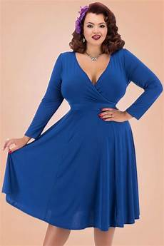 50s lyra sleeves dress in royal blue