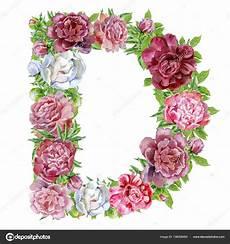 letras con flores letra d de flores em aquarela fotografias de stock