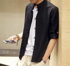3 quarter sleeve shirts untucked mens band collar untucked shirt stand collar shirt