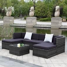 ikayaa 7pcs cushioned outdoor patio garden furniture sofa