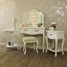 white dressing table stool mirror 2 bedside tables shabby