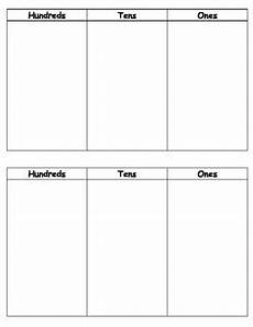 Hundreds Tens And Ones Chart Printable Hundreds Tens Ones Chart By Allison Teachers Pay