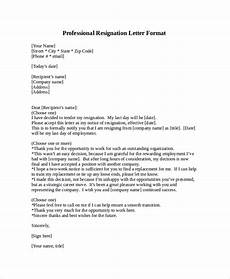 Professional Resignation Free 6 Professional Letter Format Samples In Pdf Ms Word