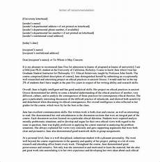 Recommendation Letter Template For Graduate School Letter Of Recommendation For Graduate School 10 Free