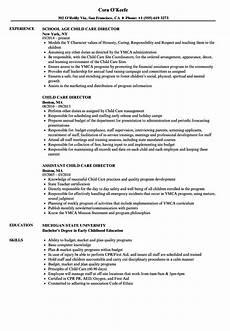 Resume For Child Care Director Child Care Director Resume Samples Velvet Jobs