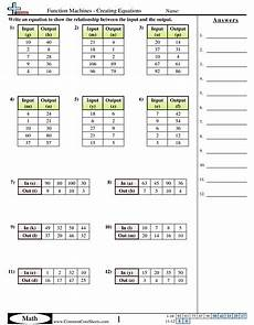Patterns In T Charts Grade 4 Worksheets Function Machines Creating Equations Worksheet Function