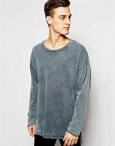 lyst asos oversized sleeve t shirt with stepped hem