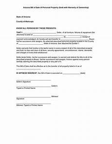 Bill Of Sale Az Free Arizona Personal Property Bill Of Sale Form Pdf Docx