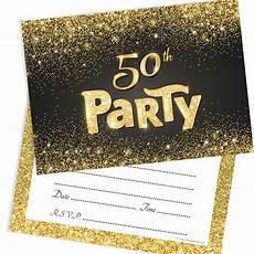 50th Birthday Party Invitation Template Black And Gold Effect 50th Birthday Party Invitations