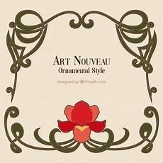 gezeichnet kunst nouveau rahmen mit einer blume 1 013