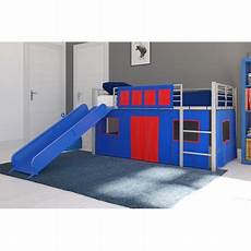 dhp junior silver loft bed with blue slide and blue