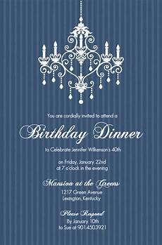 Elegant Party Invites 40th Birthday Invitations Elegant Chandelier Blue
