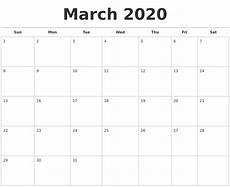 March 2020 Calendar Printable March 2020 Calendars Free
