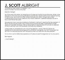 Resigning From A Board Trustee Resignation Letter Resignation Letters Livecareer