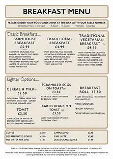 Breakfast Menu Layout Menus Larch Farm