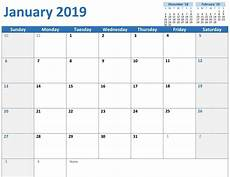 Microsoft 2020 Calendar Template Editable January 2019 Calendar 101 Free January 2019