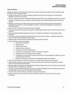 Warehouse Manager Job Description Job Description For Warehouse Manager Tasks And Duties