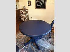 Boring oak table redo with navy chalk paint! in 2019   Kitchen table makeover, Chalk paint