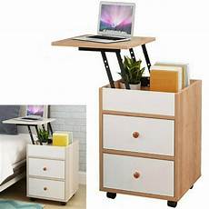 2 drawers nightstand storage modern wood lift top end