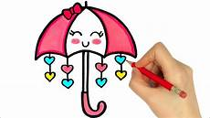 how to draw a umbrella kawaii