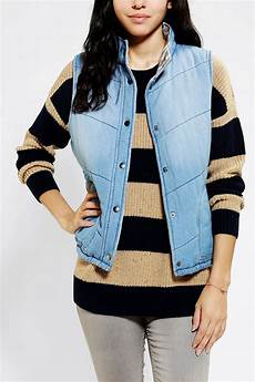 Light Blue Puffer Jacket Urban Outfitters Urban Outfitters Bycorpus Denim Puffer Vest In Blue Lyst