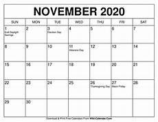November 2020 Calendar Printable Free Printable November 2020 Calendar Wiki Calendar Com