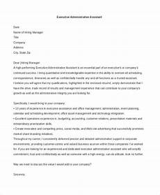 Executive Administrative Assistant Cover Letter Sample Free 8 Sample Administrative Assistant Cover Letters In