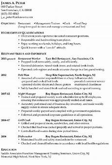 Example Of Cook Resume Resume Sample Restaurant Management Trainee Or Cook