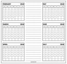 6 Month Calendar On One Page 6 Month One Page Calendar 2018 2019 Calendar Printable