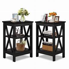 set of 2 black nightstand 3 tier end table beside coffee