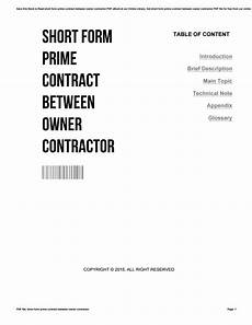 Short Form Short Form Prime Contract Between Owner Contractor By