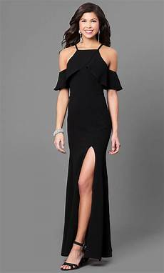 black clothes the shoulder ruffled black prom gown promgirl
