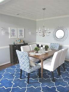 blue dining room walls white and furniture table chairs