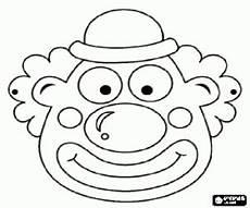 kleurplaat masker clown met weinig hoed kleurplaten