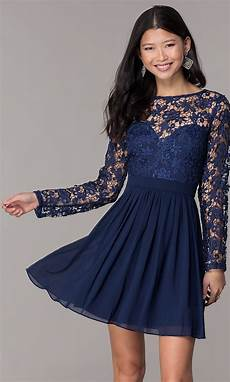 homecoming dress with sleeve lace bodice