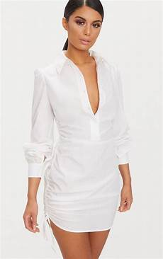 ruched side fitted shirt dress dresses prettylittlething