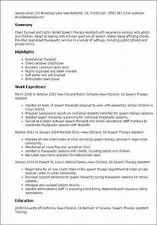 Speech Therapist Resume Speech Therapy Assistant Resume Template Best Design