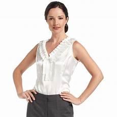 sleeveless ruffle blouse nine west sleeveless ruffle collar satin blouse in white