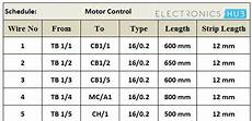 wiring schedule electrical wiring systems and methods of electrical wiring