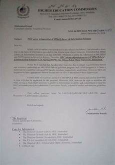 No Noc No Objection Certificate Noc Prior To Launching M Phil