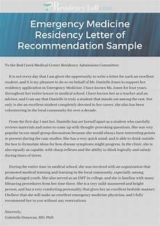 Letter Of Recommendation For Residency Emergency Medicine Residency Letter Of Recommendation Sample