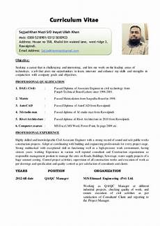 Professional Cv Format For Engineers Cv Site Engineer Civil