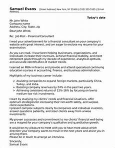 Cover Letter Consultant Financial Consultant Cover Letter Sample