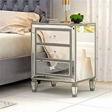 sparkly mirrored glass bedside table chest of 3 drawers