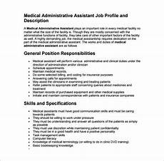 Medical Administration Job Description Medical Assistant Job Description Template 9 Free Word