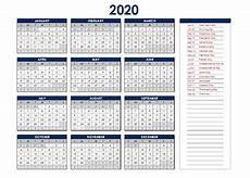 Calendario 2020 Xls Printable 2020 Excel Calendar Templates Calendarlabs