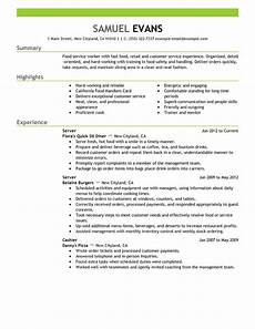 Food Service Skills Resume Fast Food Server Resume Examples Free To Try Today