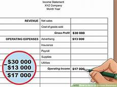 How To Write An Income Statement How To Write An Income Statement With Pictures Wikihow