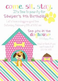 Second Birthday Party Invitations Girls Pink Puppy Party Invite Puppy Birthday Invitations